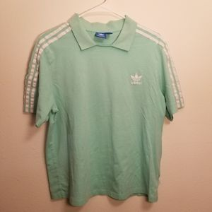 Adidas Mint Green Polo with Triple Shoulder Stripe